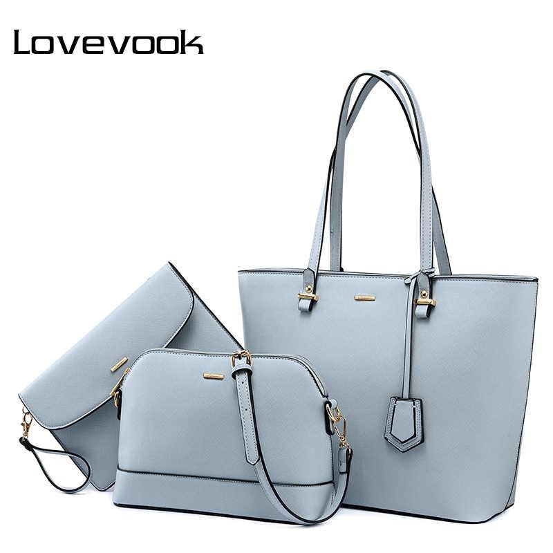 Женский набор сумок 3 шт LOVEVOOK, большая повседневная сумка на плечо, маленькая сумочка через плечо для девочек и дамы, длинный клатч с коротким ремешком для телофона, из искусственной кожи, для всех сезонов, 2019