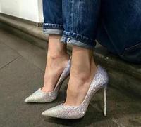 Copertura di Cristallo di lusso Sexy Delle Donne Scarpe A Punta Pompe Bling Del Rhinestone di Modo Delle Signore Degli Alti Talloni Eleganti Scarpe Da Sposa Scarpe Da Sera