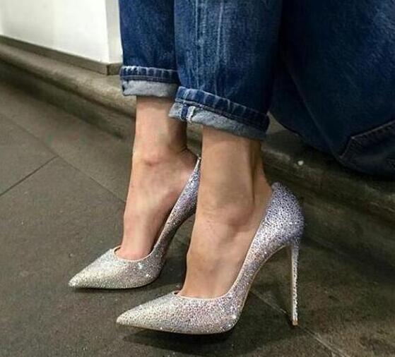 Luxury Crystal Cover Women Sexy Pointed Toe Pumps Bling Rhinestone Ladies Fashion High Heels Elegant Wedding Shoes Dress Shoes