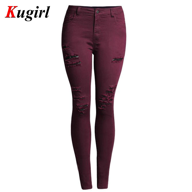 Popular Burgundy Jeans Women-Buy Cheap Burgundy Jeans Women lots ...