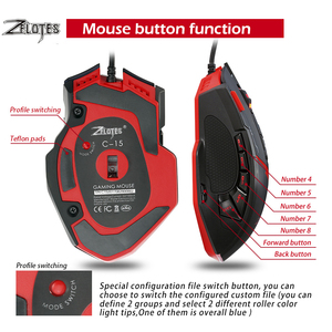 Image 5 - Zelotes C15 Computer Muis Hand Game Gaming Mouse 7000 Dpi 13 Programmeerbare Knoppen Gewicht Tuning Cartridg Gaming Muis