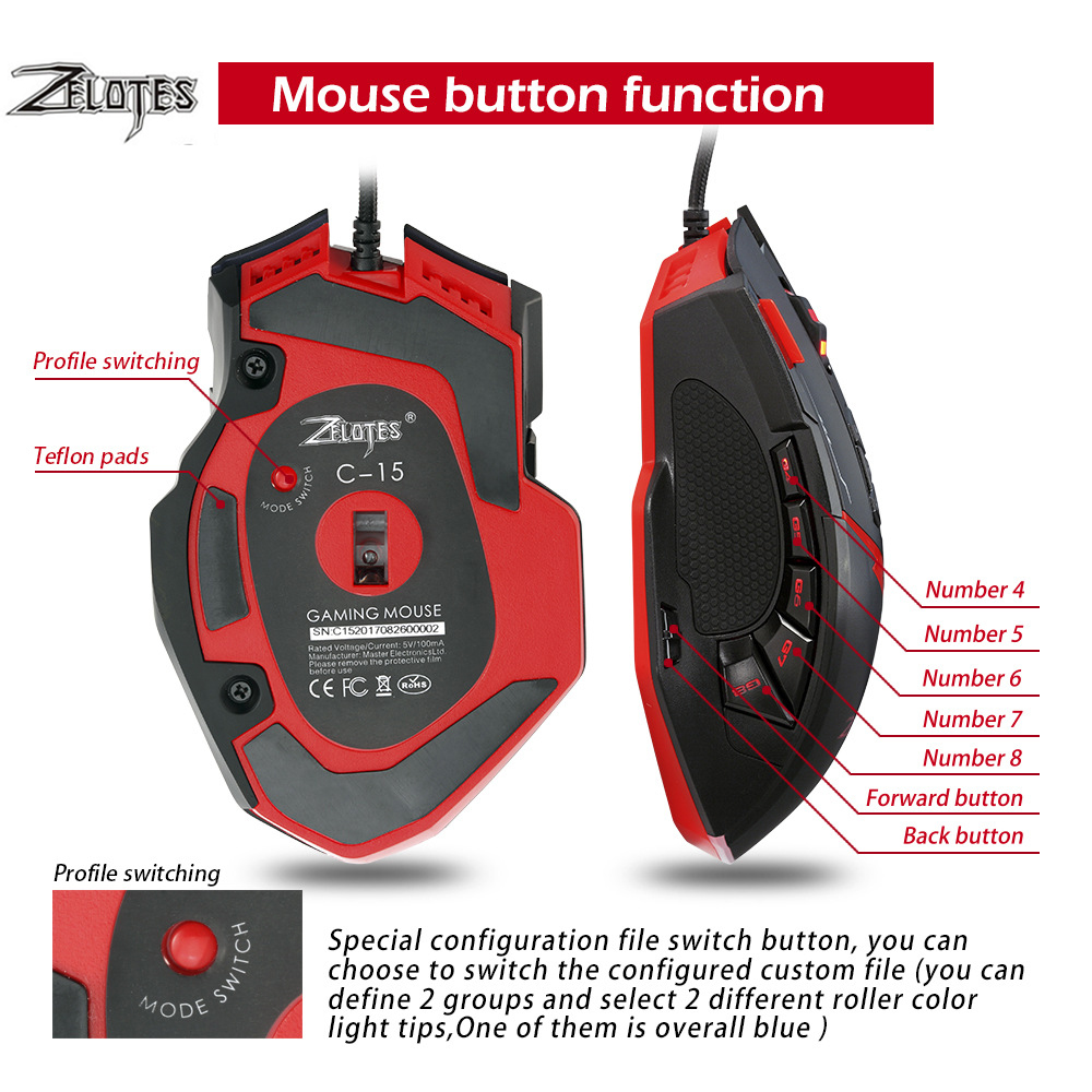 Image 5 - Zelotes C15 computer mouse hand game Gaming Mouse 7000 DPI 13 Programmable Buttons Weight Tuning Cartri gaming mouse-in Mice from Computer & Office