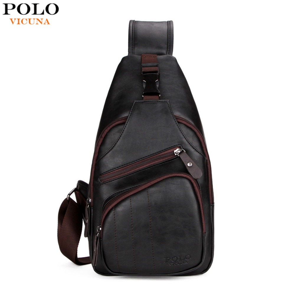 VICUNA POLO Personalized Anti-theft Buckle Open Men Crossbody Bag Perfect Quality Mens Sling Bag Luxury Brand Bag Men Chest Pack vicuna polo promotion famous brand handbag high quality pu leather men tote bag borse classic sewing thread design men sling bag
