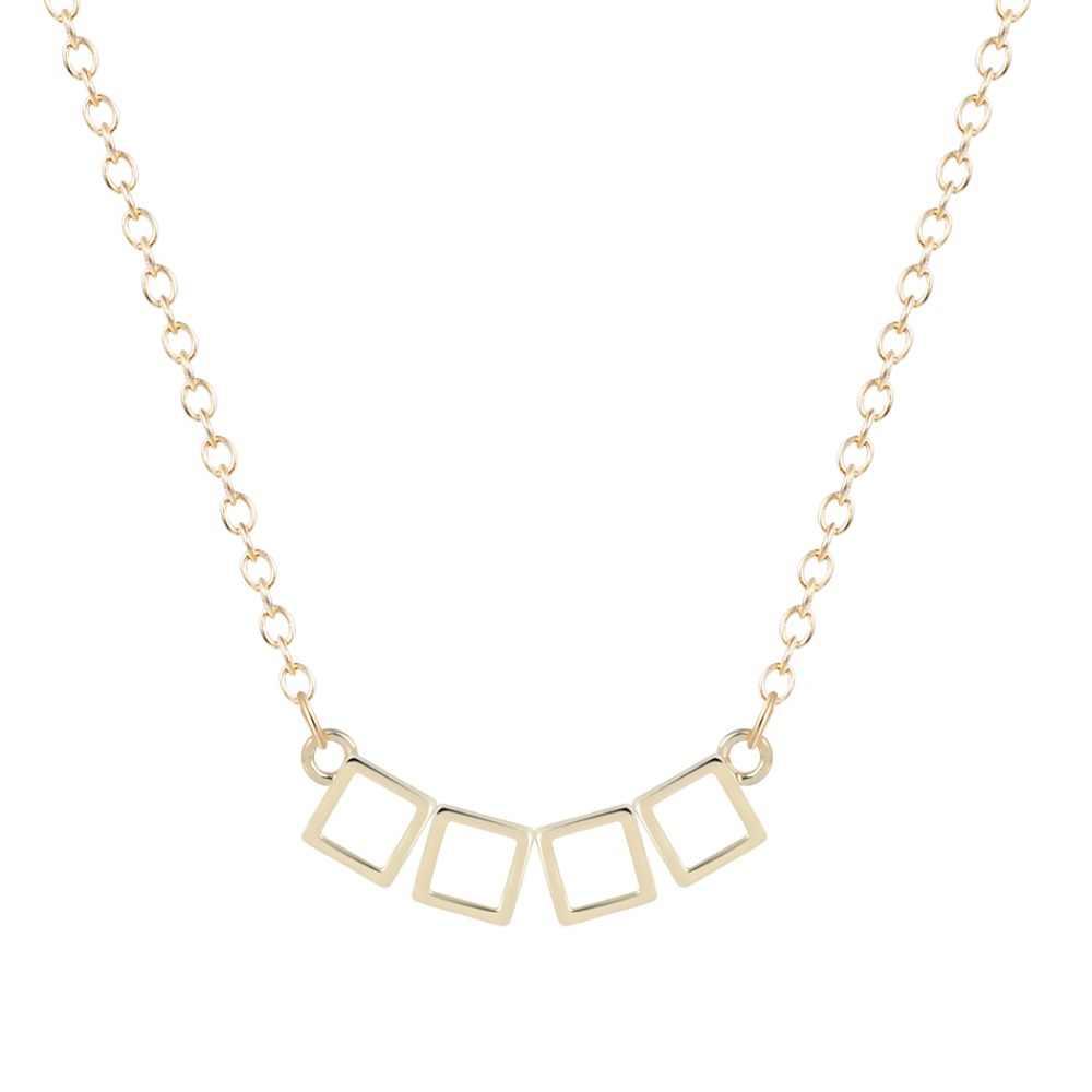 Strange 4 minuscule pendentif carré collier pendentif Collares minimaliste Simple bijoux cadeaux collier en argent pour les filles et les femmes