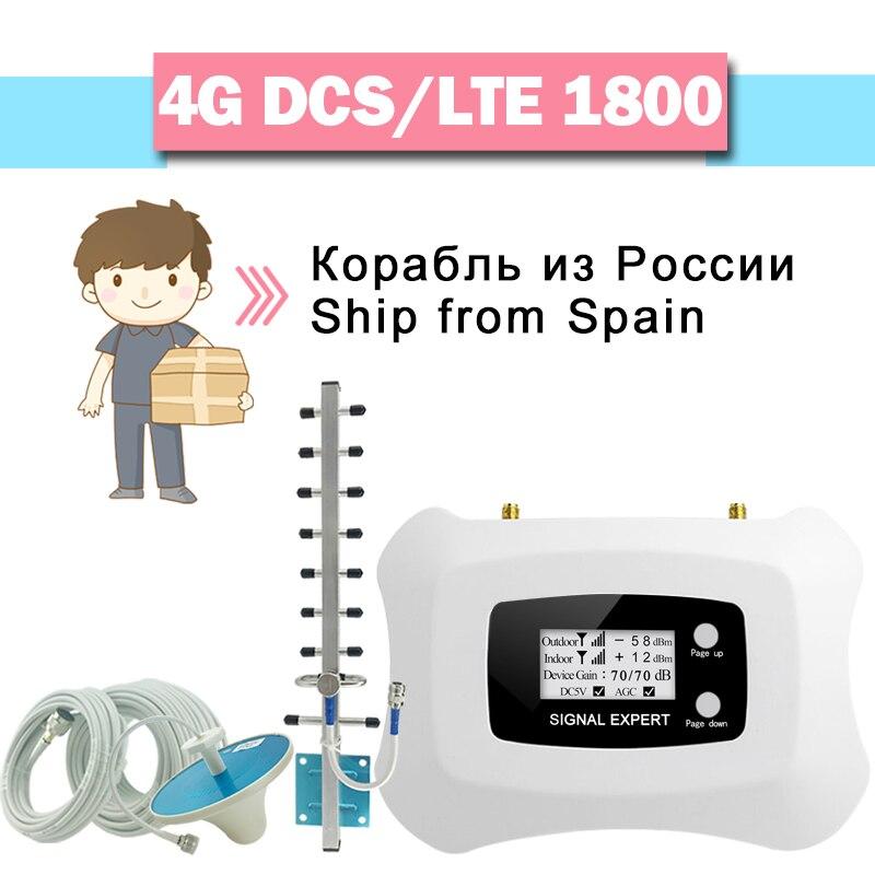4G LTE DCS 1800 amplificateur de Signal cellulaire 70dB Gain affichage LCD bande de répéteur de Signal GSM 3 4G LTE ensemble de Booster de Signal de téléphone portable//
