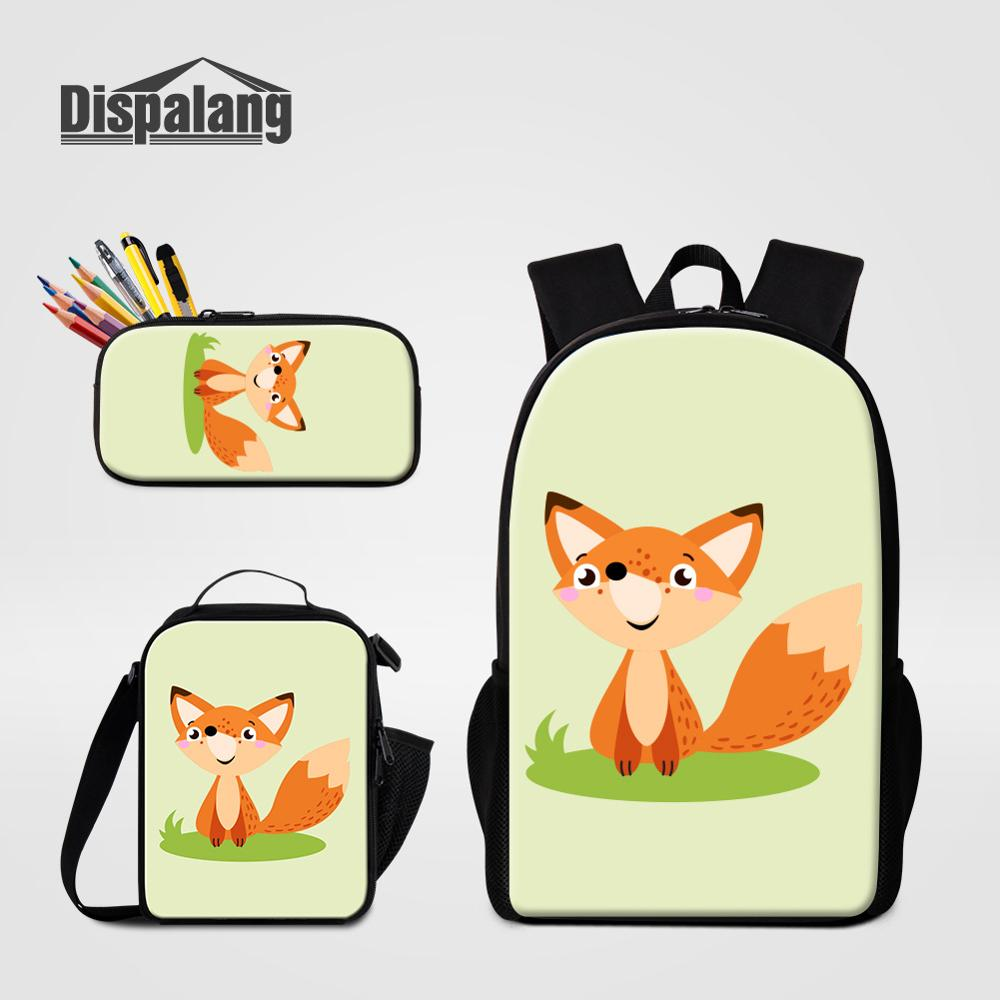 Mignon bande dessinée renard licorne tigre zèbre impression sacs d'école porte-crayon sacs plus frais ensemble pour étudiant filles garçons sac à livres enfants Rugzak