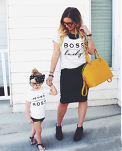 Funny Parent Couple T-Shirt,Family Macthing T Shirt Mother Son Daughter Mine Boss Lady Letter Print 100% cotton camisetas shirt