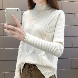 2018 Women Winter Sweater Autumn Half Turtleneck Pullovers Lady Sweaters Basic Female Knit Sweater Long Sleeve Jumper Tops Z19 3