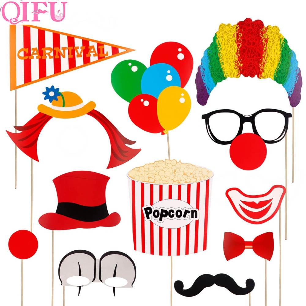 QIFU 12pcs Circus Clown Birthday Photo Booth Props DIY Fun Circus Joker Photobooth Props On A Stick Birthday Party Wedding DecorQIFU 12pcs Circus Clown Birthday Photo Booth Props DIY Fun Circus Joker Photobooth Props On A Stick Birthday Party Wedding Decor