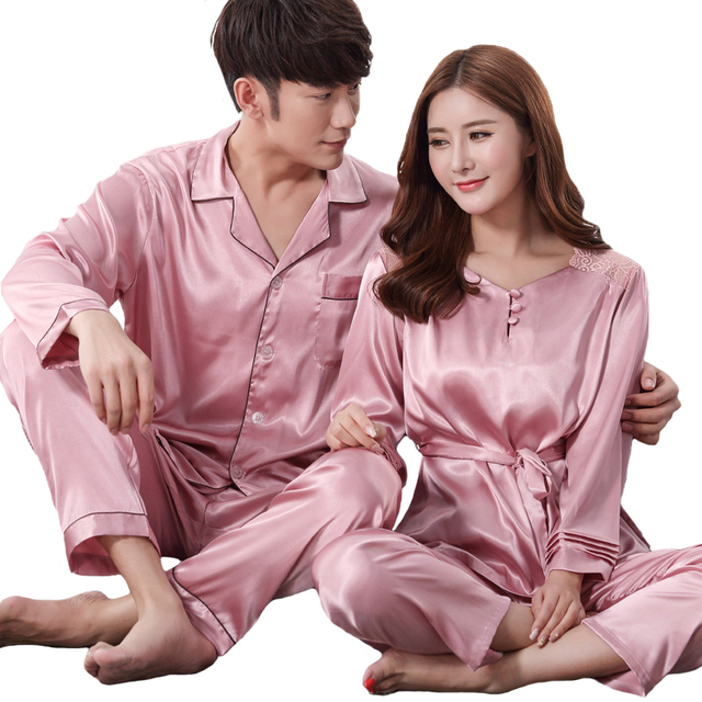 Casual Couple Pajamas Suit Nightwear Spring Lovers 2PCS Shirt Pants Home  Wear Solid Long Sleeve Sleepwear Set cad7eb365