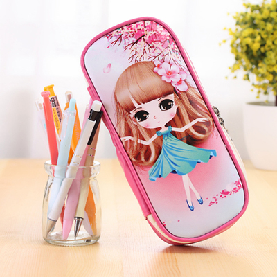 Kawaii Girl Design School Pencil Case Large Capacity Pencil Bag PU Leather For Children Student Pen Box Stationery Supplies