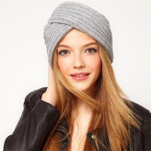 Image 2 - Women Bohemian Style Warm Winter Autumn knitted Cap Fashion Boho Soft Hair Accessories Turban Solid Color Muslim hat Whole Sale