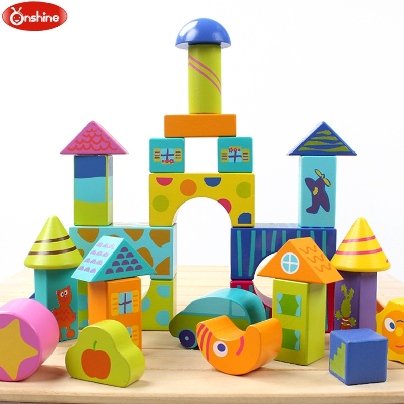 50pcs Kids wooden Colorful blocks building blocks educational early learning Gift kid s soft montessori wooden mini number house number shape matching blocks toy set early educational gift for kids