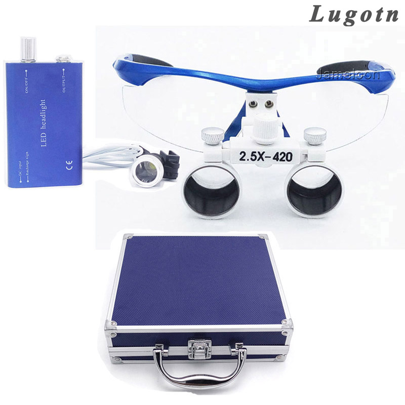 Metal box 2.5X enlarging surgical magnifying led head light ENT loupe dental operation ear doctor magnifier lens 5lens led light lamp loop head headband magnifier magnifying glass loupe 1 3 5x y103