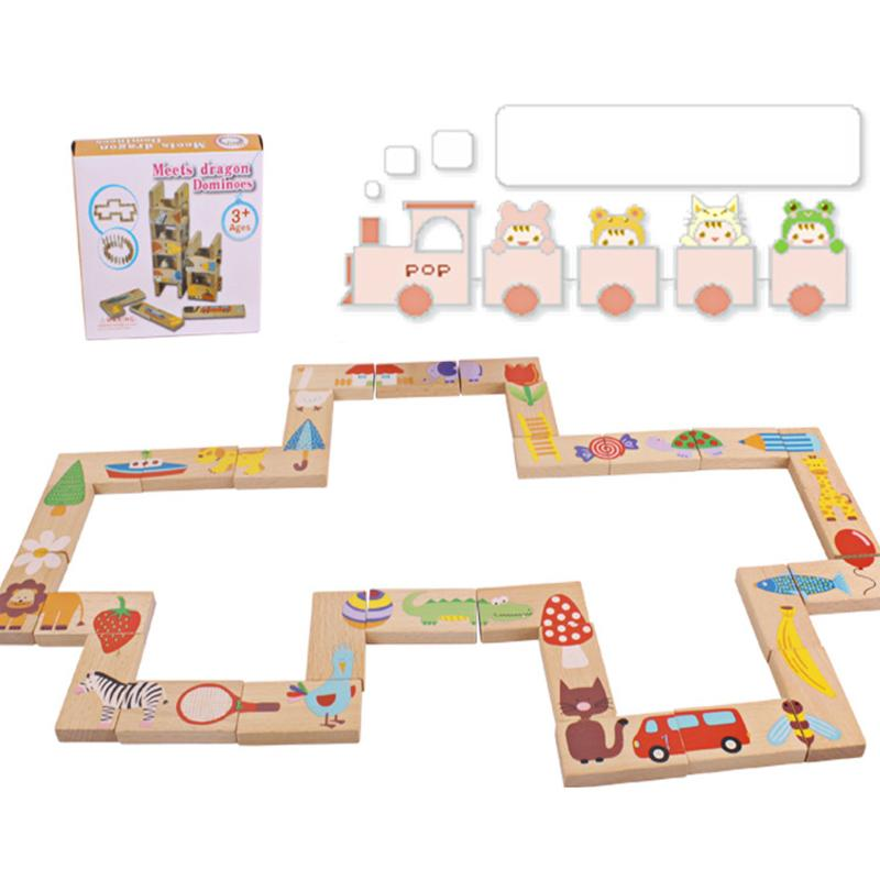 28pcs/Lot Colorful Dominoes Wooden Puzzle Toy Cartoon Montessori Educational Baby Toys Cute Birthday Gifts Funny Puzzle Games memory match wood funny wooden stick chess game toy montessori educational block toys study birthday gift for kids 3d puzzle