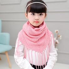 Шарф для девочки, однотонный, вязанный, полый, треугольный, женский, с кисточками, имитация кашемировые шали и шарфы, Детские Многофункциональные аксессуары