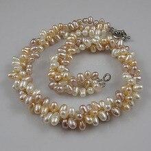 Новинка,, трехрядное жемчужное ожерелье белого, розового, фиолетового цвета, натуральный пресноводный жемчуг, ювелирное изделие из рисовых бусин, 18 дюймов