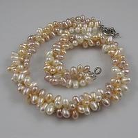 Nuevo Envío Libre Tres Filas Collar de Perlas Blanco rosa púrpura Color Natural Perlas de Agua Dulce Joyería de Perlas de Arroz 18 pulgadas