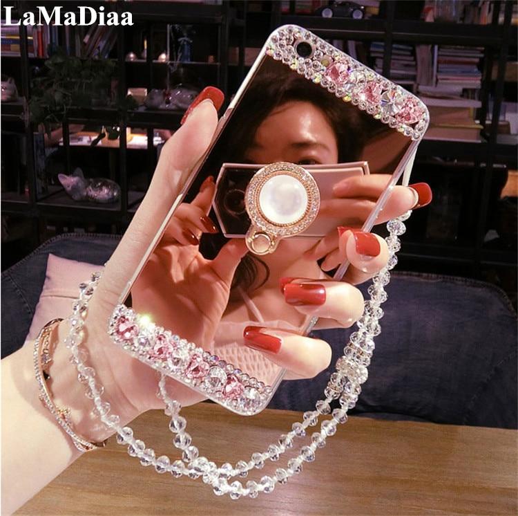 Bling Diamond Luxury Mirror Soft TPU Phone Case For Xiaomi 5X 6X MAX2 8 9 SE Redmi 4X 5A 6A Note5A 6 7 With Ring Holder Stand