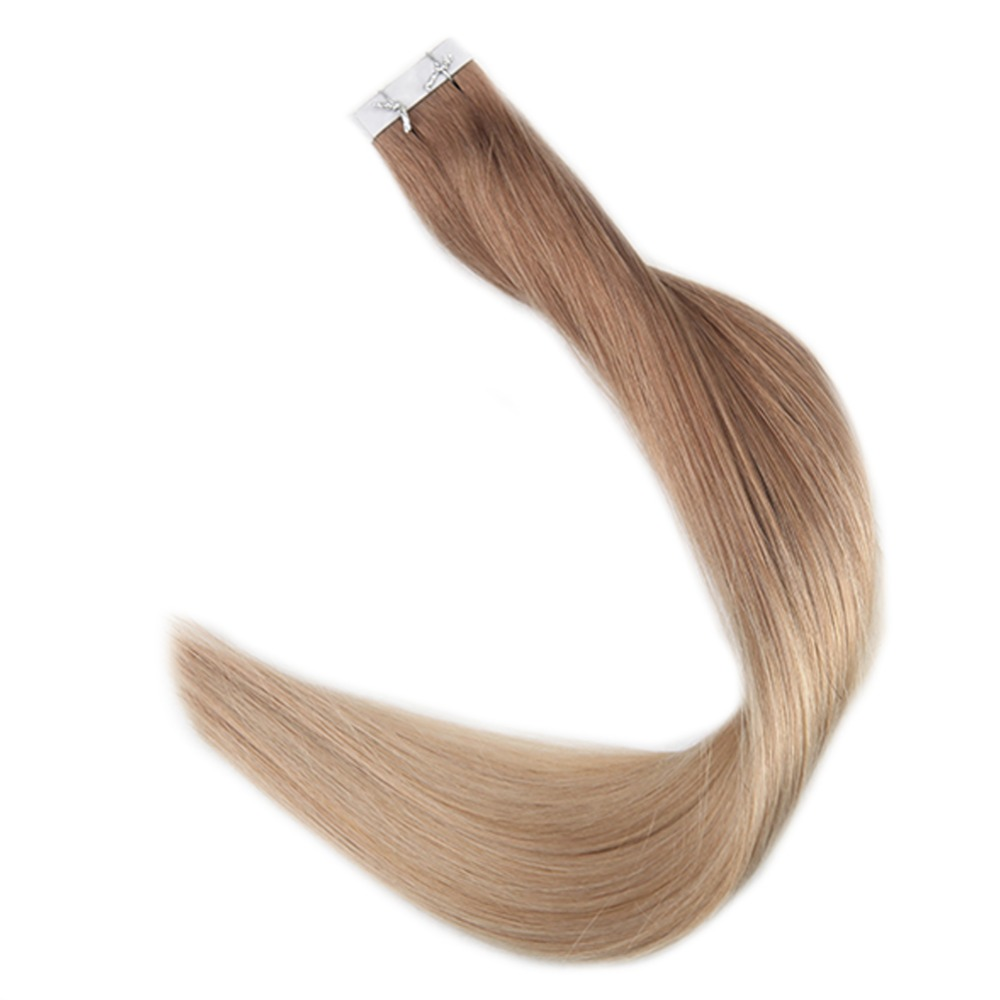 Full Shine Tape In Hair Extensions Remy Hair Color #12 Fading To 24 Blonde 20 Piece 50 Gram Human Hair Extensions Tape Ins