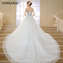 VENSANAC 2018 Luxury Crystal Sweetheart Sequined Ball Gown Wedding Dresses Lace Appliques Court Train Bridal Gowns lovely tulle ball gown wedding dress 2019 new sweetheart lace appliques off shoulder court train princess church bridal dresses