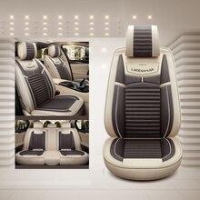 Pokrycie siedzenia samochodu len uniwersalne siedzenie poduszki Car Styling dla Toyota Corolla RAV4 Prius Prado Highlander Sienna zelas verso Mark