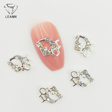 LEAMX 10 PCS/bag Nails Charms Rhinestone Letter I DO Art Decorations 3D Silver Metal Nail Jewelry Accessories Gifts L508
