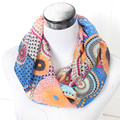 New Female Stripe Dot Ring Scarf Fashion Woman Autumn Lavender Silk Infinity Scarves Nice Spring Chevron Print Loop Shawl