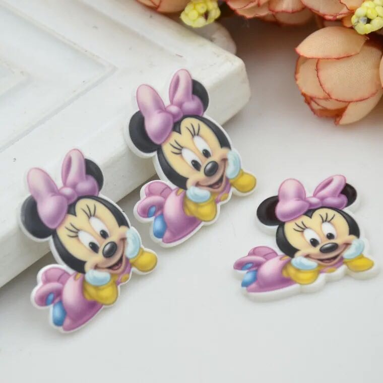 Glorious 35*32mm 10pcs/lot Cute Diy Cartoon Baby Mickey Holiday Home Decoration Crafts Flat Back Resin Hair Accessories Resin Crafts 2019 New Fashion Style Online Diy Craft Supplies Home & Garden