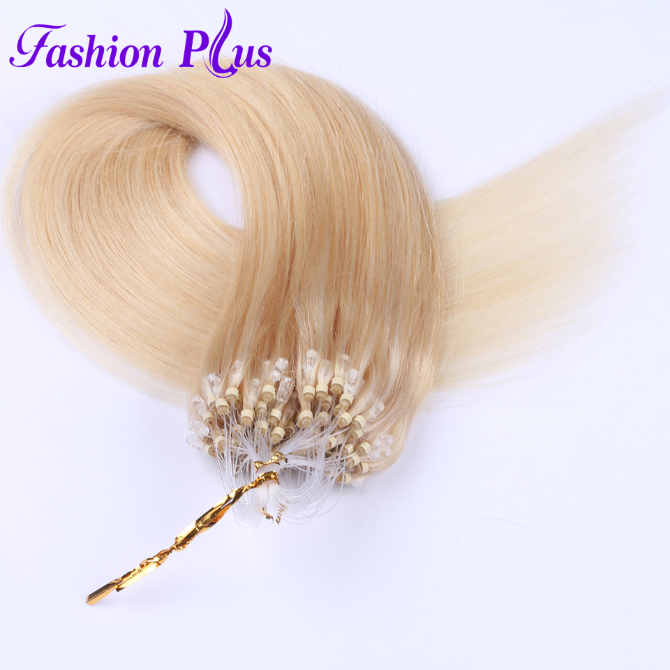 Fashion Plus Micro Ring Hair Extensions 613 Micro Bead Remy Human Hair Extensions Micro Loop Hair Extensions 1g/s 100g 18''-24''