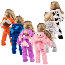 Doll Clothes Born Baby Siamese Pajamas +Shoes 2Pcs Sets Fit 18 Inch And 43cm Rompers Dolls