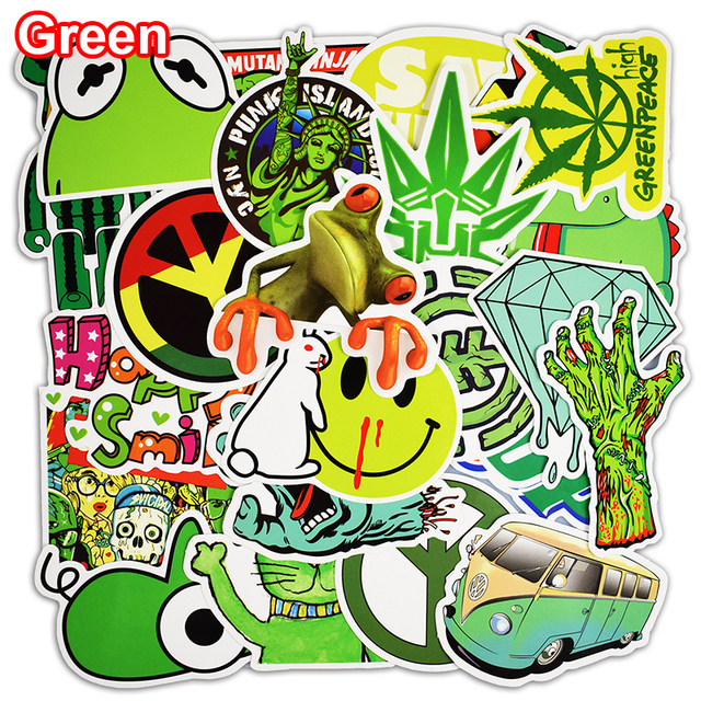 Not Repeat 50 Pcs Green Stickers For Car Styling Luggage Laptop Decoration Cool Decal Fashion Brand Vinyl DIY Funny Sticker