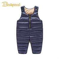 Duck Down Baby Winter Romper Overalls Solid Adjustable Straps Jumpsuit Baby Boy Winter Clothes Warm Infant