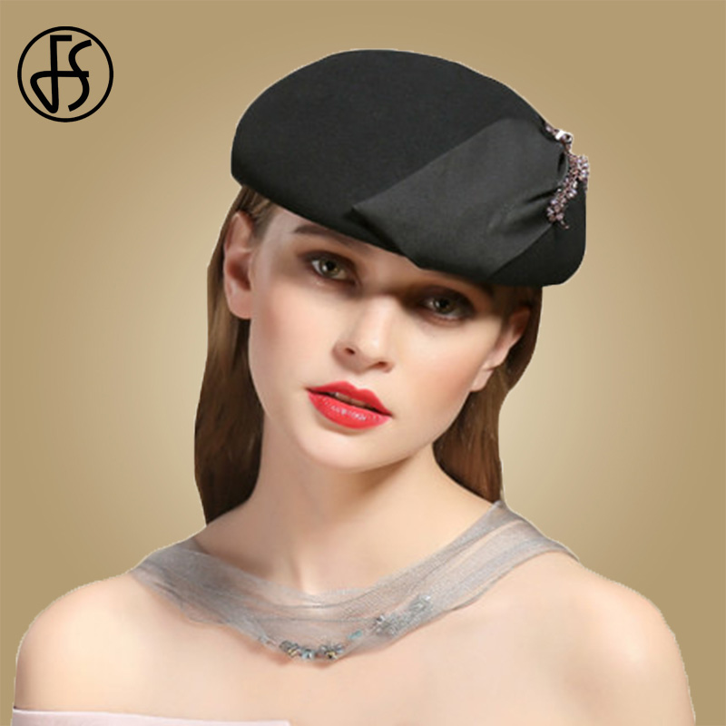 cbc29153 FS British Women Winter Beret Wool Hat Black Brown Red Felt Warm Caps  French Hat Berets