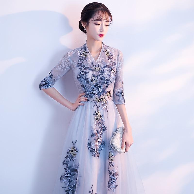 Kadın Giyim'ten Elbiseler'de Asil Kadınlar Çiçek V Yaka uzun elbise Zarif Ziyafet Elbise yüksek kaliteli yay Bayanlar Yarım Kollu Balo Örgün Törenlerinde Boyutu XS XXL'da  Grup 1