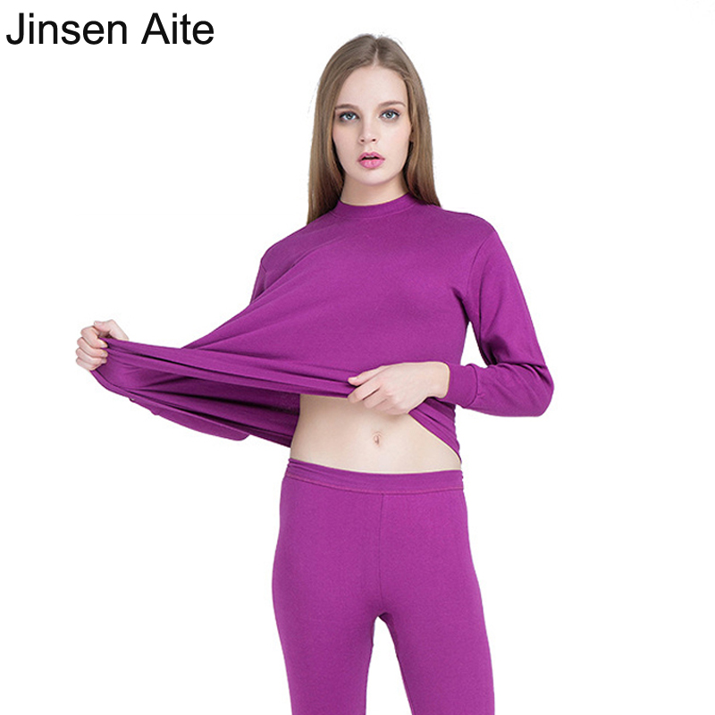 Jinsen Aite Cotton O-Neck Women Long Johns Elasticity Large Size Warm Body Suit New Winter Autumn Femme Thermal Underwear JS94