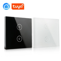 2 Gang 1Way EU Standard Sensor Switch Glass Panel LED Light Intelligent Sensor Touch Wall Switch tuya app