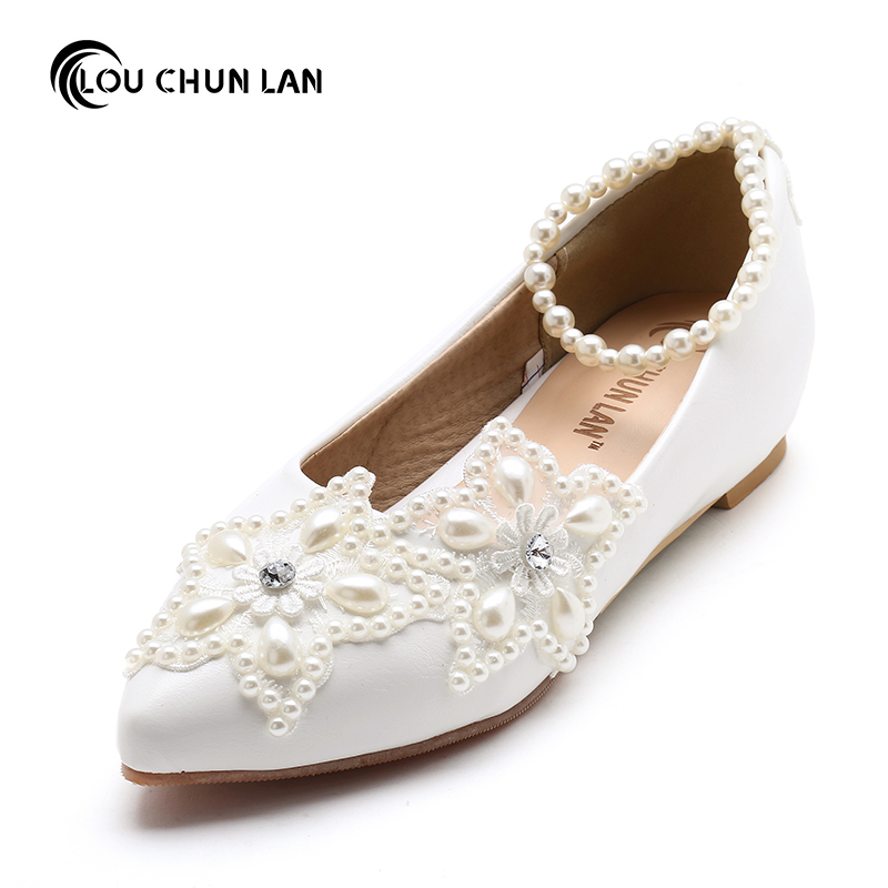 2017 White five pointed star pearl rhinestone beaded anklet Wedding Shoes Bridesmaid Shoes handmade Shoes woman flats size 41 47