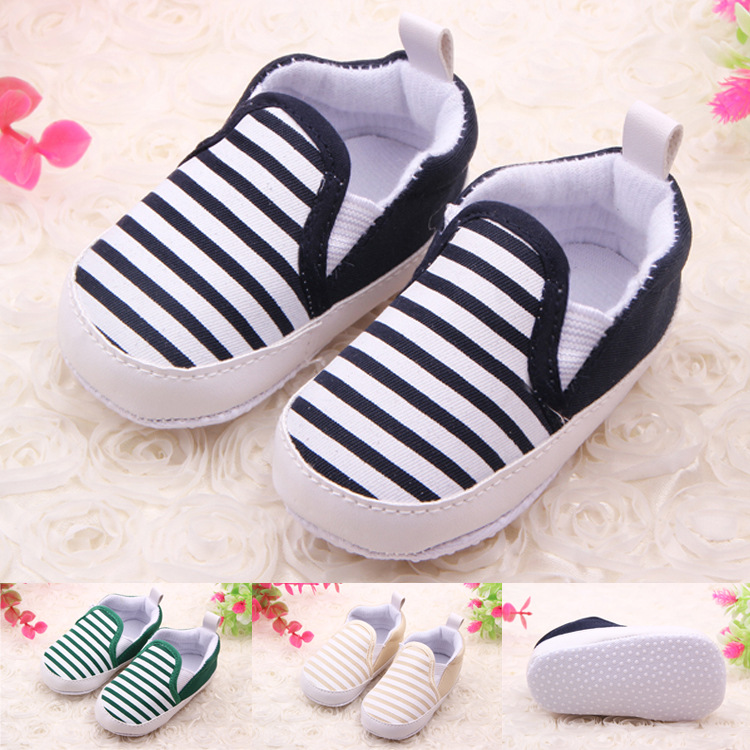 Fashion Autumn Naval Stripe Baby Boys Soft Shoes Infant Slip-On First Walkers Toddler Striped Canvas Sneaker Bebek DS19