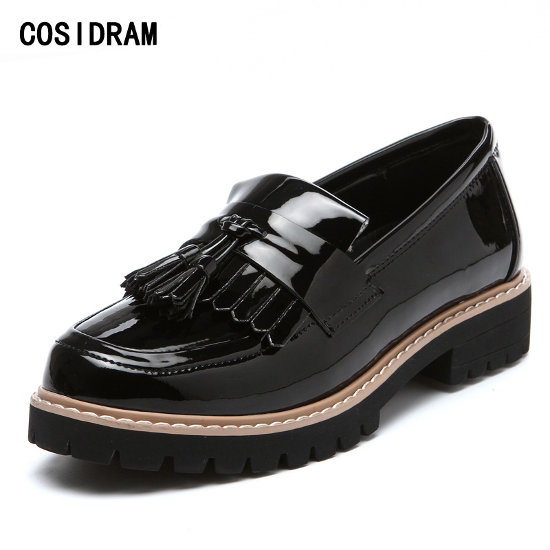 COSIDRAM Patent Leather Women Flats Tassel Oxford Shoes For Women Oxfords Slip On Spring Autumn Women Shoes Ladies BSN-014