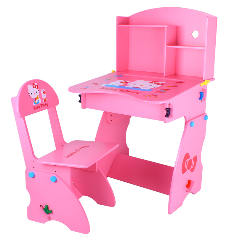 hellokitty cat lift desk chair desk baby learning table and chairs child furniture set in. Black Bedroom Furniture Sets. Home Design Ideas