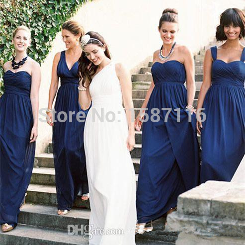 2016 Navy Blue Bridesmaid Dresses Plus Size Formal Dress A Line Sweetheart  Different Styles Floor Length Ruffles Chiffon Junior -in Bridesmaid Dresses  from ... 721bba73a282