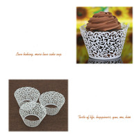 50pcs Pack Paper Hollow Lace Floral Cup Cake Muffin Wrapper Wrap Case Wedding Party Table Decor