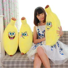 New plush toys banana fluffy pillow simulation skinned banana pillow gifts