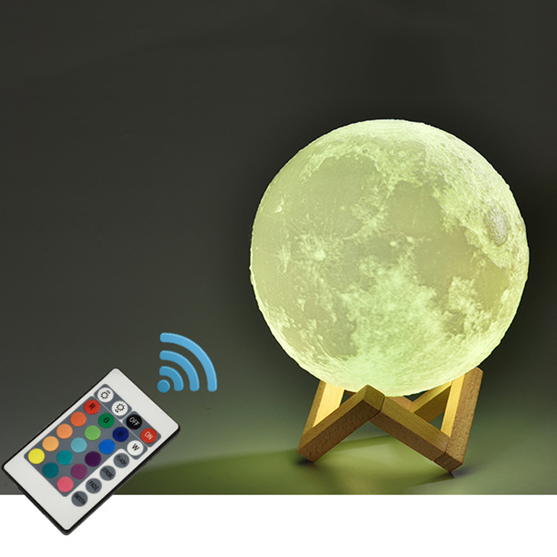 16 Color Change 3D Print Lamp Creative Rechargeable Moon Lamp Moon Bedroom Bookcase Night Light 3D Light Touch Switch