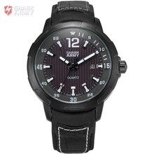 Shark Army Brand Black Dial Auto Date Display Black Leather Strap Male Military Wristwatches Men Sports Quartz Watch / SAW153