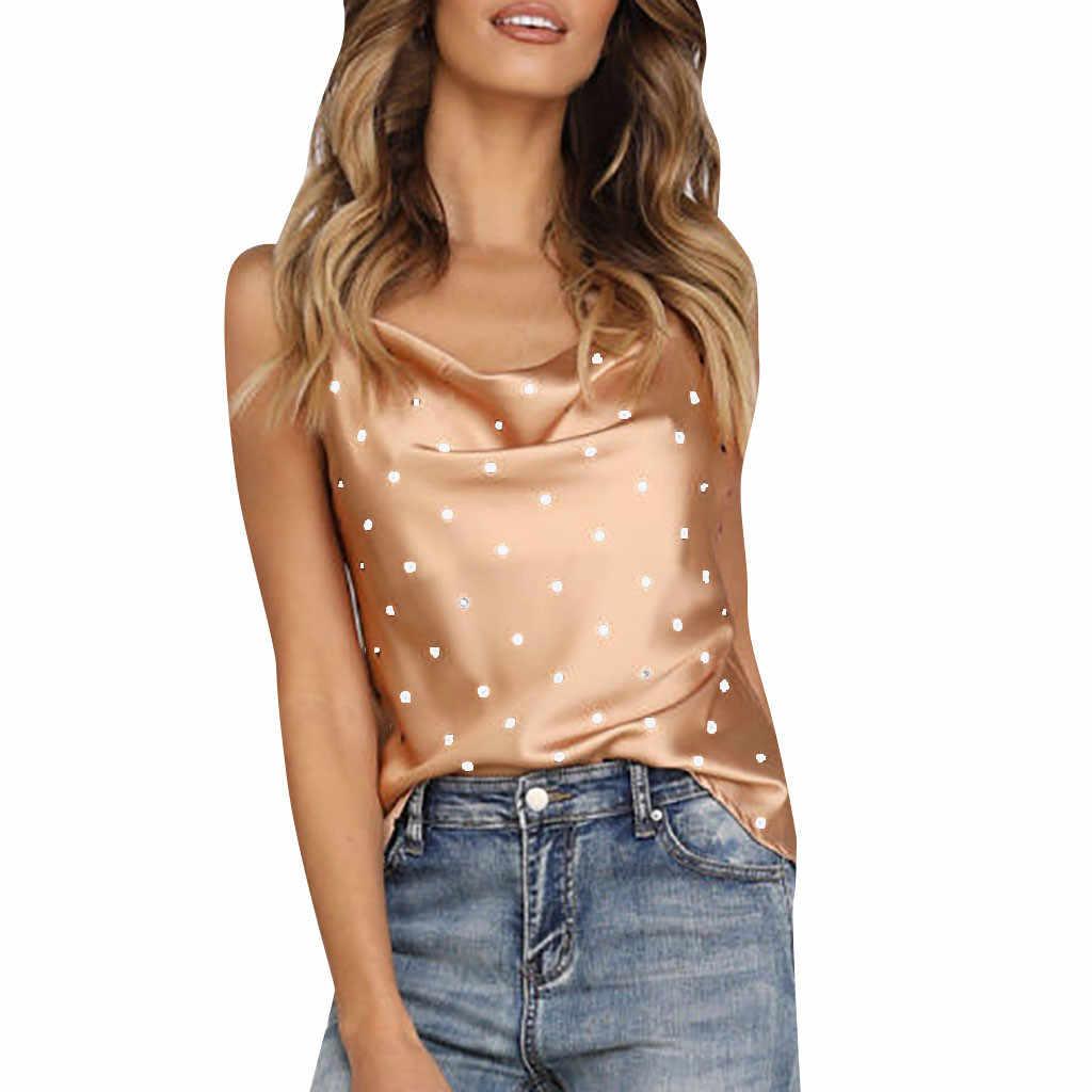 a0670182dd4 Women Polka Dot Satin Silk Tank Tops Blusas De Tirantes De Mujer Sleeveless Summer  Cami Camisole