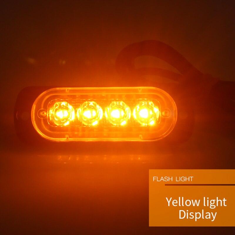 4 LED Car Truck Side Flash Light LED Flashing Warning Light Bulb 12v 24v LED Strobe Emergency Light Beacon ...
