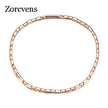 ZORCVENS 2020 New Long Magnetic Necklace for Women 6mm Width Stainless Steel Health Care Jewelry
