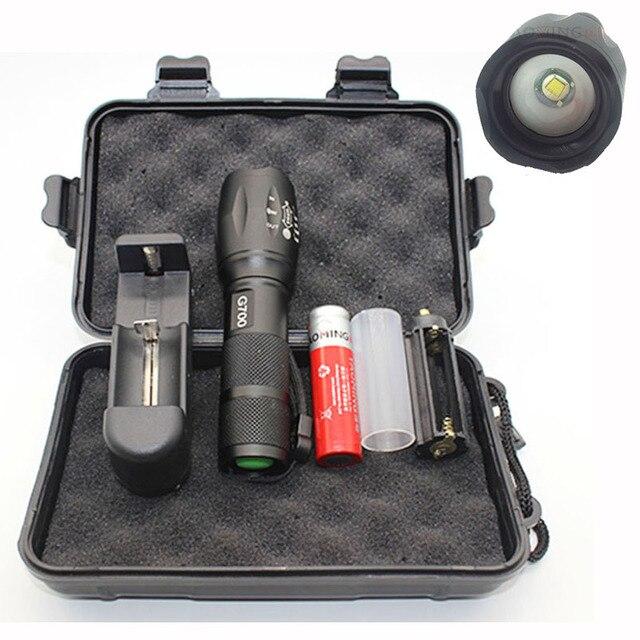 G700 набор фонарик CREE XML T6 2300LM мощный светодиодные лампы фонарь аккумуляторная факел 18650 зарядное устройство полиции тактический светодиодный фонарик